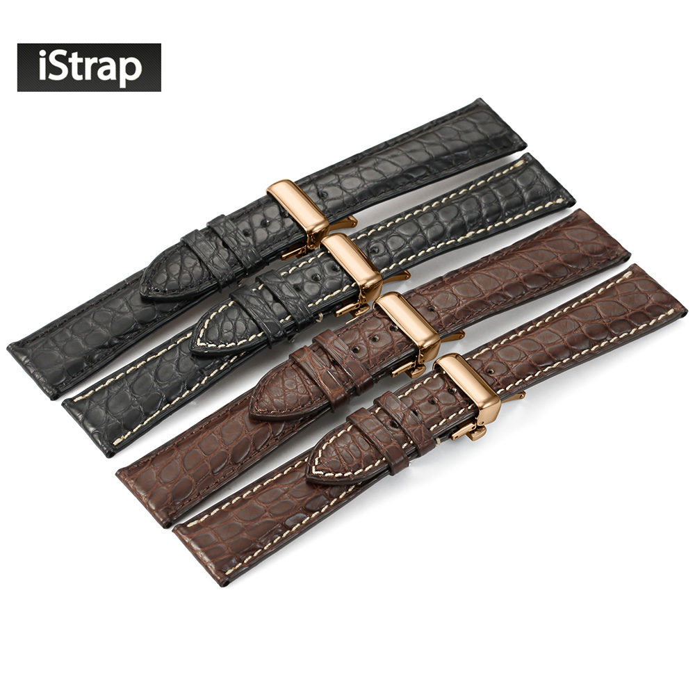 iStrap Watchband 18mm 19mm 20mm 21mm 22mm Crocodile Leather Watch Band Replacement Strap Rose gold Deploymen For Men WomeniStrap Watchband 18mm 19mm 20mm 21mm 22mm Crocodile Leather Watch Band Replacement Strap Rose gold Deploymen For Men Women