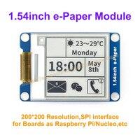 1.54インチe-紙モジュール200 × 200 e-インクデモボード表示画面、spiインターフェース用ボードとしてラズベリーパイ表示色: