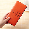 2016 New European and American Slim Two-Fold Brand H Buckle Cowhide Leather Large Capacity Practical Women Clutch Wallets Purses