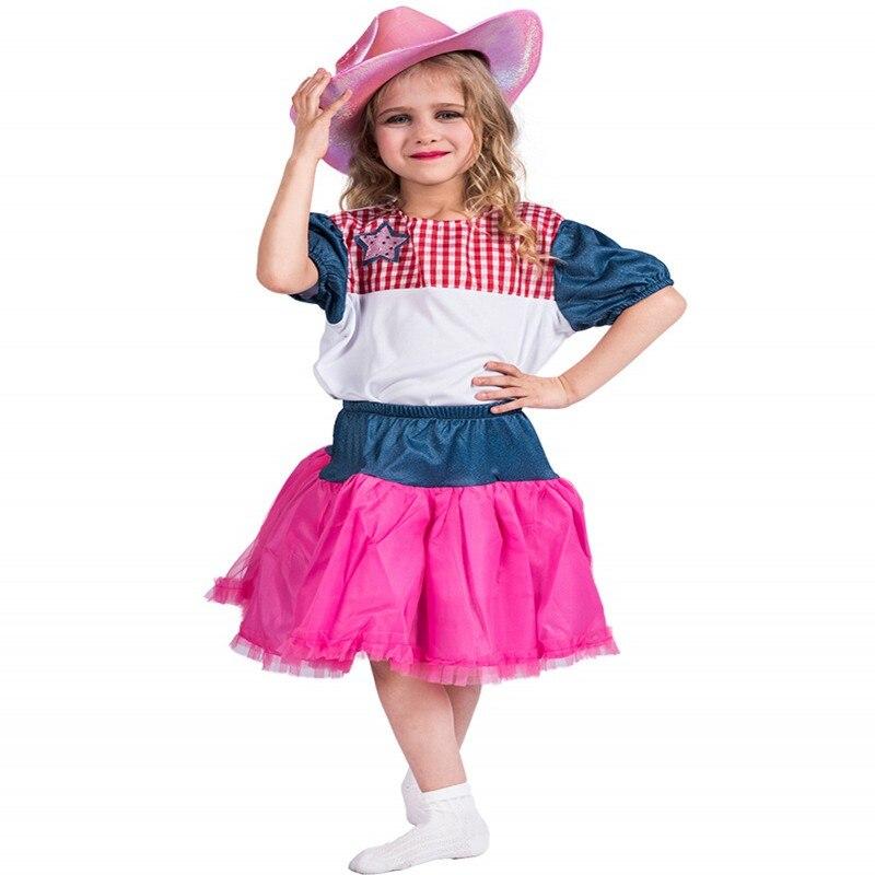 Las-ni-as-halloween-traje-ni-o-vaquera-cari-o-traje-chica-vestido-con-sombrero-de