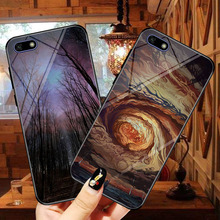 Starlight glass phone case for huawei y 5 lite cases painted protective back cover y5 2018