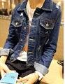 2014 весной и летом синий джинсовый верхняя одежда перемежается distrressed джинсовой пальто верхней одежды женщин