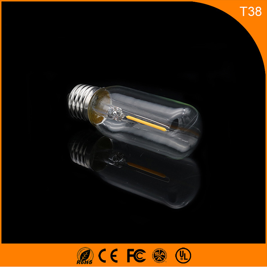 50PCS 1W E27 B22 Led Bulb, T38 LED COB Vintage Edison Light ,Filament Light Retro Bulb AC 220V 5pcs e27 led bulb 2w 4w 6w vintage cold white warm white edison lamp g45 led filament decorative bulb ac 220v 240v