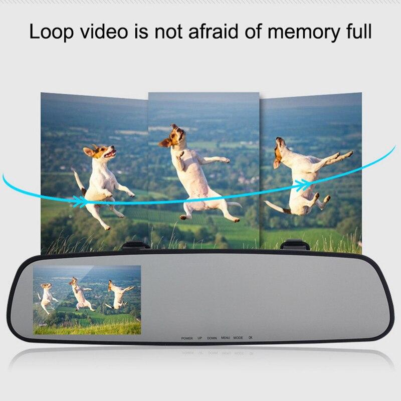 2018 Auto Dash Cam Car Dvr Double Lens 1080P HD Car Dvr Detector 3.2 Inch Camera Rearview Mirror Traveling Data Video Recorder