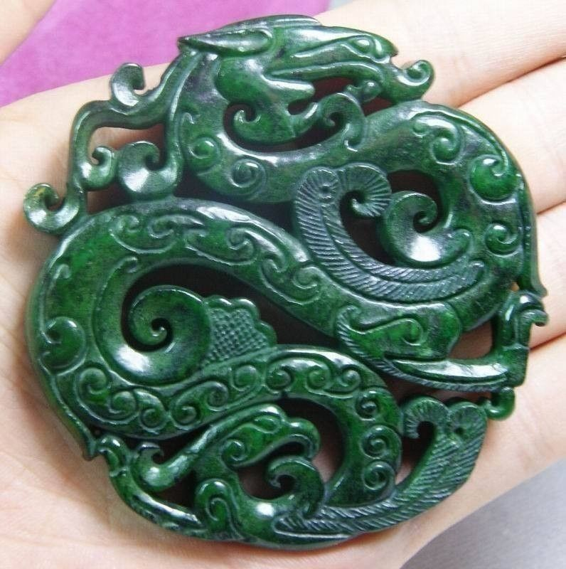 Chinese Old Handwork Carve Dark Green Jade Dragon Pendant