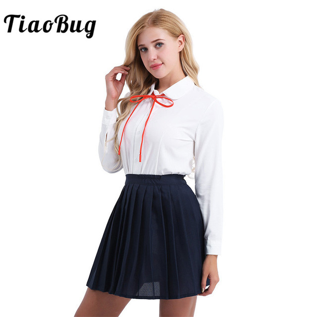 1f2490fd8ba TiaoBug Women Student Japanese School Uniform Korea Suit White Long Sleeve Shirt  with Navy Blue Skirt