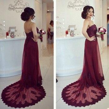 Sexy Strapless A-Line Appliques Lace Long Evening Dresses Summer Style Tulle vestido de festa Hot Sale
