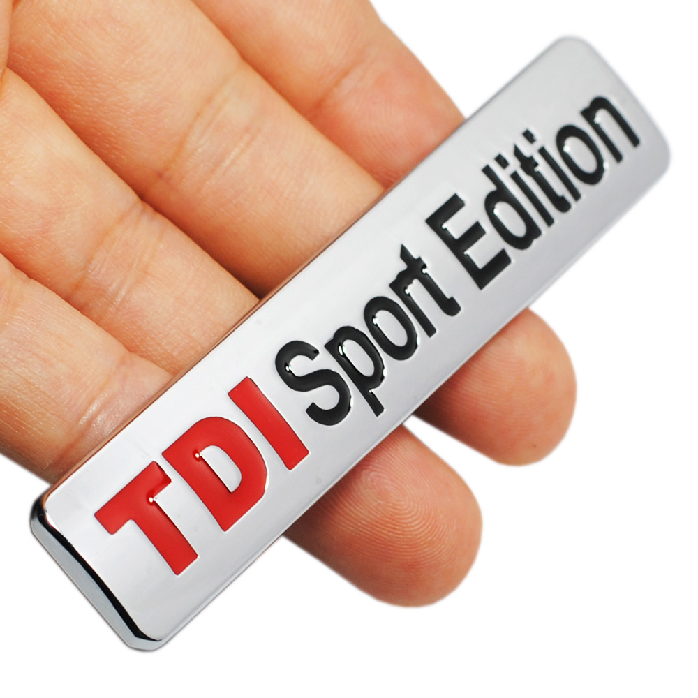 Metal Red TDI Sport Edition Logo Turbo Car Letter Sticker Emblem Chrome Badge Decals for VW POLO GOLF CC TT JETTA GTI TOUAREG