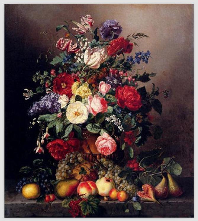 Fleur classique peinture à l'huile sur toile décor mural Art peinture une nature morte avec des fleurs assorties avec des Fruits faits à la main
