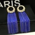 Eh104 tassel blue kpop nuevo 2014 joyería pendientes brincos boucles d'oreilles bijoux bijouterie stud pendientes para mujeres