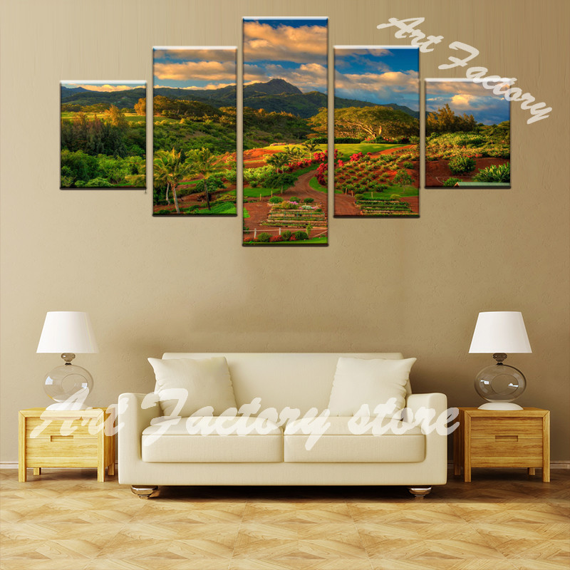 Canvas Wall Art Print oil Painting Picture Home Decoration 5 Piece Gold Wheat Field Landscape Modular Poster for bar pub LS-150