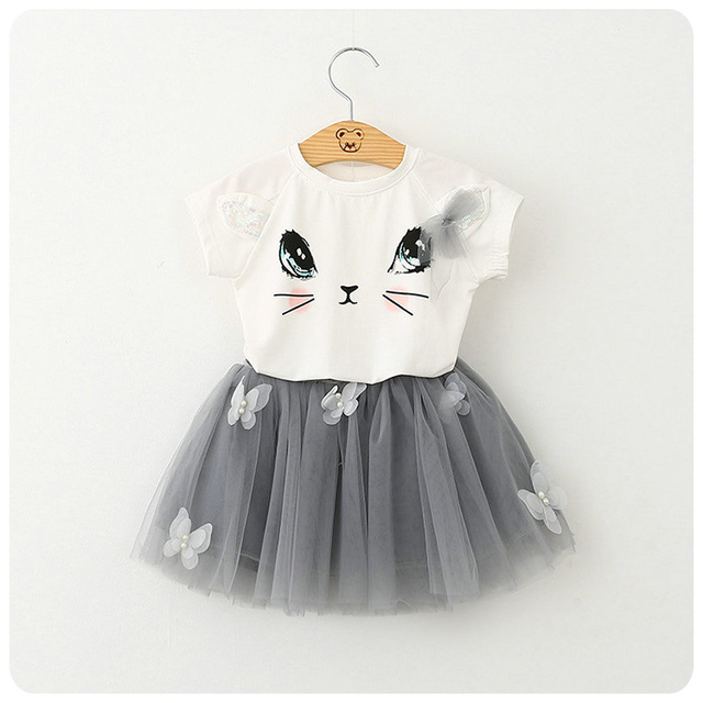 Summer New Pattern Korean Girl Children's Garment Cartoon Kitty T-Shirt Sweater Yarn Nail Pearl Short Skirt Girl 2 Pieces Suit
