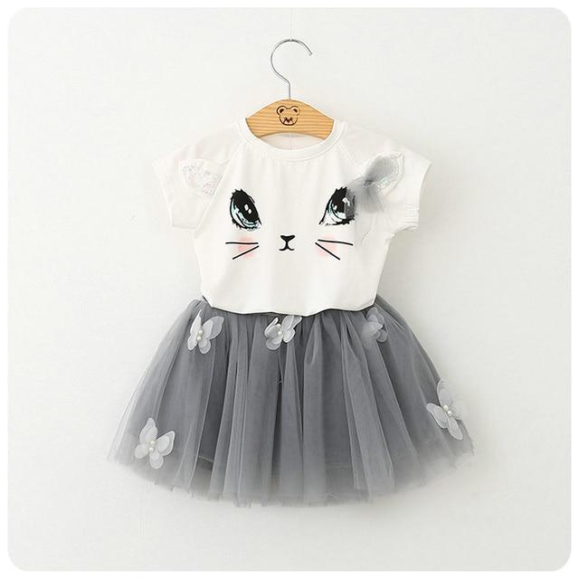 Summer New Pattern Korean Girl Children's Garment Cartoon Kitty T-Shirt Sweater Yarn Nail Pearl Short Skirt Girl 2 Pieces Suit