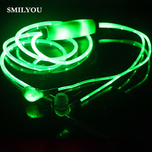 SMILYOU Gentle Up Stereo LED Earphone Sport Earpiece Glowing Cable Headset with Mic for Android IPhone Cell phone MP3 MP4
