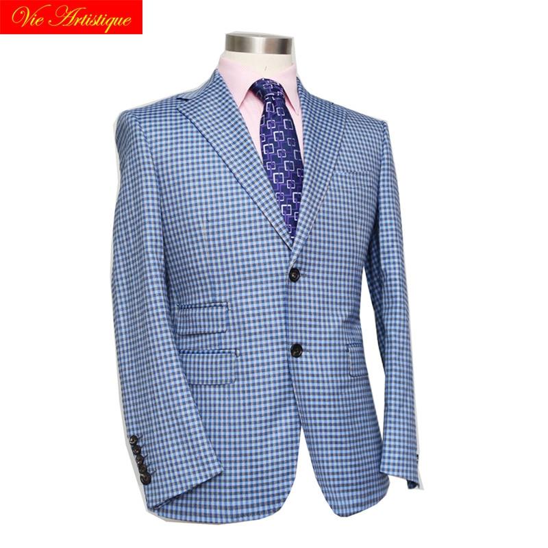 Custom Tailor Made Men's Bespoke Suits Business Formal Wedding Ware Bespoke Jacket Coat Fine Wool Slim Fit Sky Blue Lattice