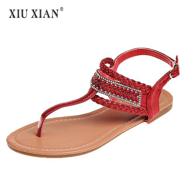 3b8148971 2018 Summer New Fashion Women Vacation Sandals Luxury Crystal Gem Lovely  Lady Beach Sandals Big Size41 Comfortable Student Flats
