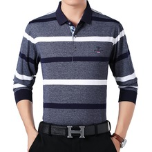 WAEOLSA Middle Aged Man Casual Shirts Gray Purple Tops Men Stripes Cotton Male Camisa Masculina Tops Father Leisure Top Shirt XL цена
