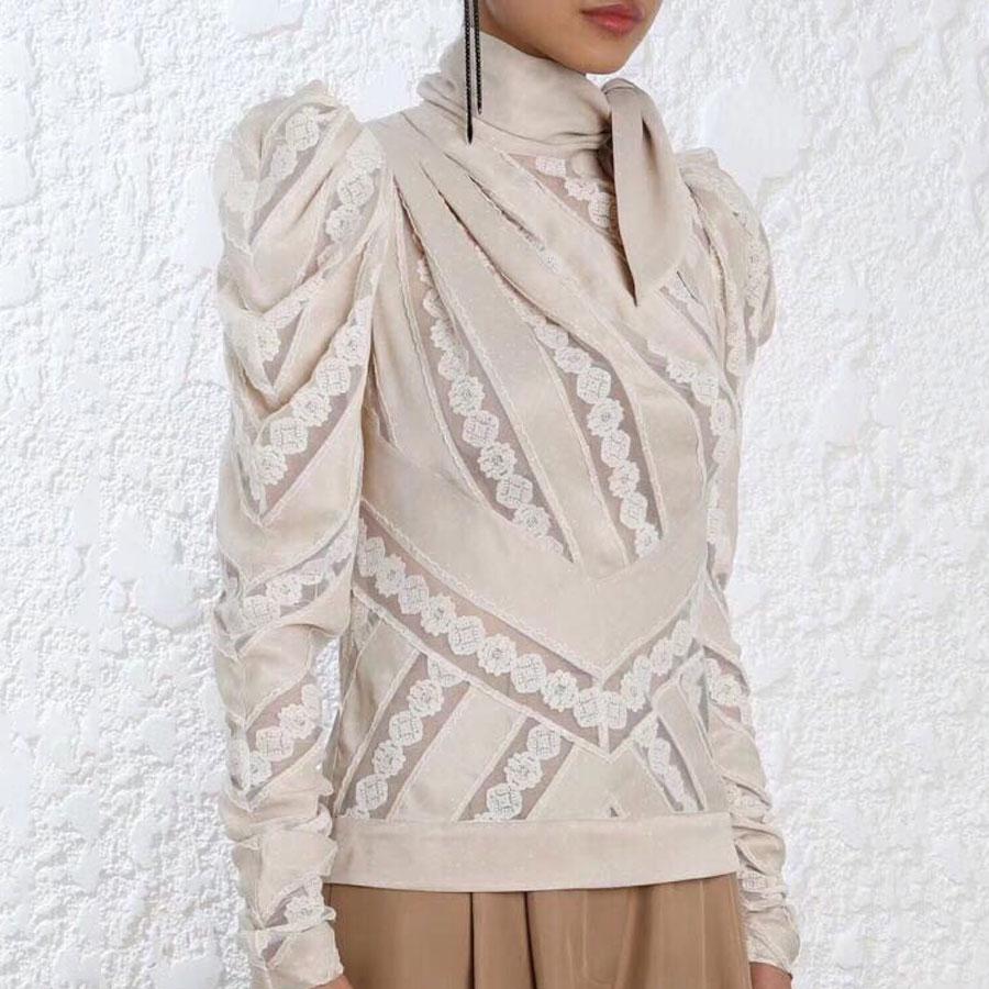Осень 2018 г. для женщин s Топы и блузки для малышек с длинным рукавом Новое поступление лоскутное леди Элитный бренд Высокое качество модные