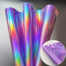 3D лазерная голографическая Радужная зеркальная кожаная сумка платье из искусственной кожи ткань ремесло ткань DIY Материал A5 20 см x 15 см