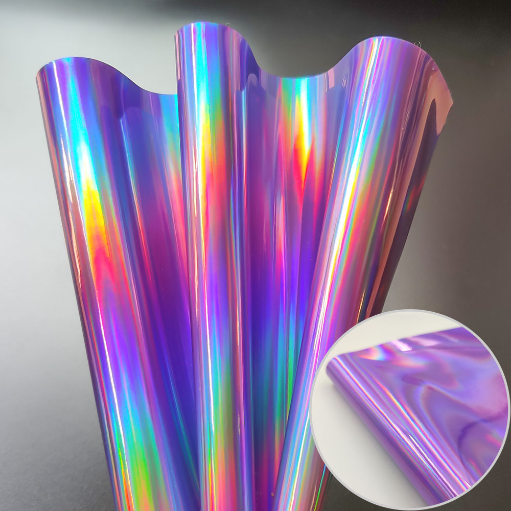 Iridescent Synthetic Leather Holographic Fabric DIY Materials For Bag Garment