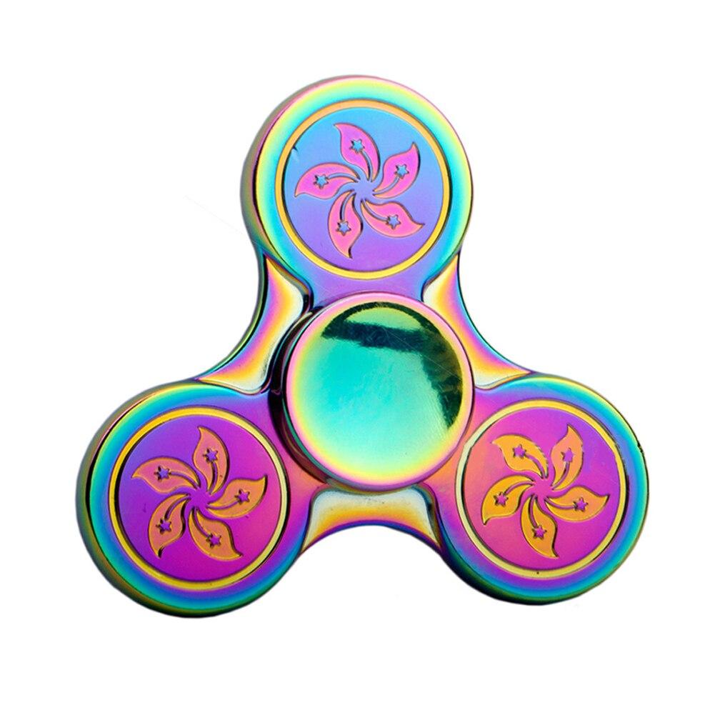 Fidget Finger Spinner Hand Focus Spin Alloy EDC Rainbow Bauhinia Stress Desk Toy