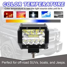 1 Pcs/ 1 Pair 4 inch 60W LED Light Bar Waterproof LED Pods Spotlight Fog Driving Lighting Lamp for Off Road Truck Car SUV Boat(China)