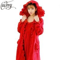 OUIRRY 2018 Hot Sale Lovers Silk Flannel Warm Long Bathrobe Women Dressing Gown Bride Kimono Bath