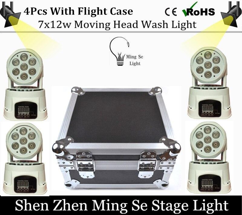 4Pcs/lots 7x12W RGBW 4in1 quad led wash moving head light wtih flight case LED stage lights Mini LED Moving Head 14 channels