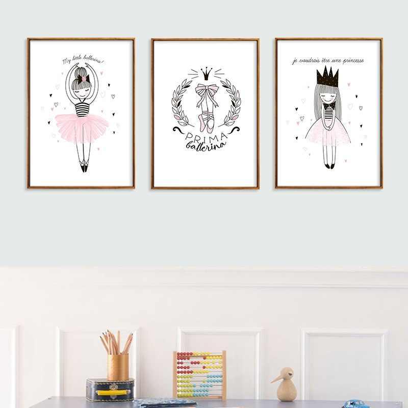 Moderno Bella Decorazione Poster Rosa Ragazza di Balletto E Scarpe Bella Principessa Tela Della Parete Della Pittura di Arte Per Bambini Bedroom Decor