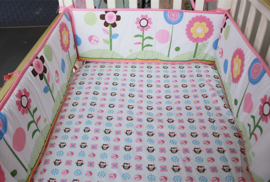 Promotion! 5PCS New Arrival Cute Cartoon Crib Nursing Bedding Linens Baby Bedding Set Baby Cot Protector,(4bumper+bed cover)
