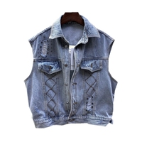 Diamond beading women's denim vest outerwear female hand made holde frayed denim jacket casual college style outerwear wq1661