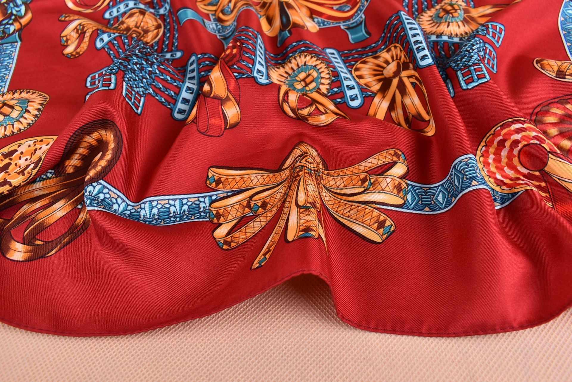 Bufandas de moda para mujer chal estampado seda satén bufanda femenina 70cm x 70cm marca de lujo cuadrado chales hiyab pañuelos para la cabeza para damas