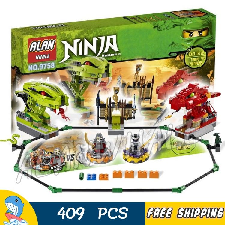 ФОТО 409pcs new BELA 9758 Ninja Spinner Battle Snake Dragon Building Blocks Sets Jigsaw Construction Compatible With lego