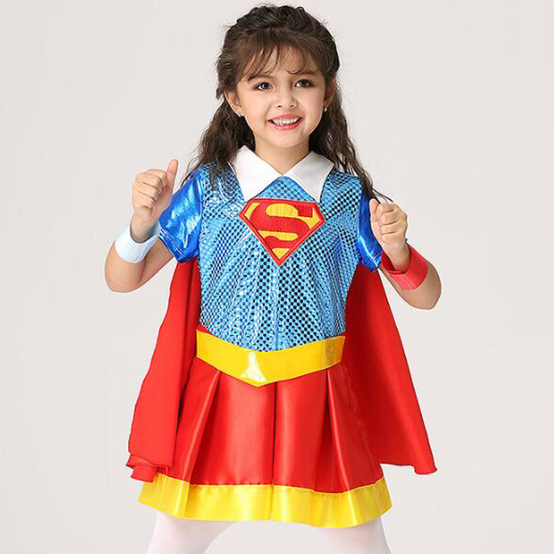 Halloween Kids Costume Superman Baby Girls Dress Superhero Children Cosplay Party Clothing Suit