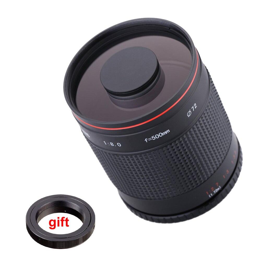 500mm f/8.0 Caméra Téléobjectif Manuel Miroir Lentille + T2 Mount Adapter Ring pour Canon Nikon Pentax Olympus sony A6300 A7RII DSLR