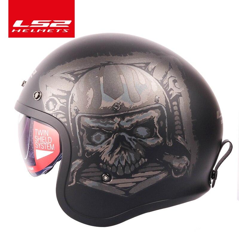 Original LS2 Spitfire Vintage casque visage ouvert design de mode rétro jet demi-casque LS2 OF599 casque moto avec boucles à bulles