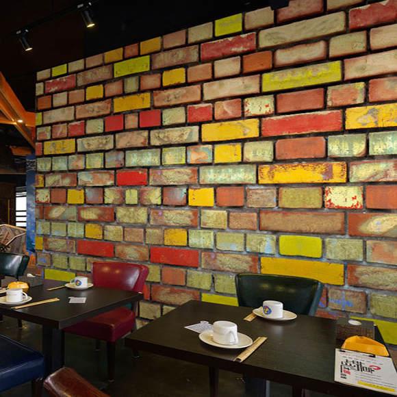 13 94 38 De Réduction Personnalisé 3d Mural 3d Couleur Brique Mur Peinture Ktv Bar Restaurant Barbecue Café Fond Graffiti Art Bois Brique Papier