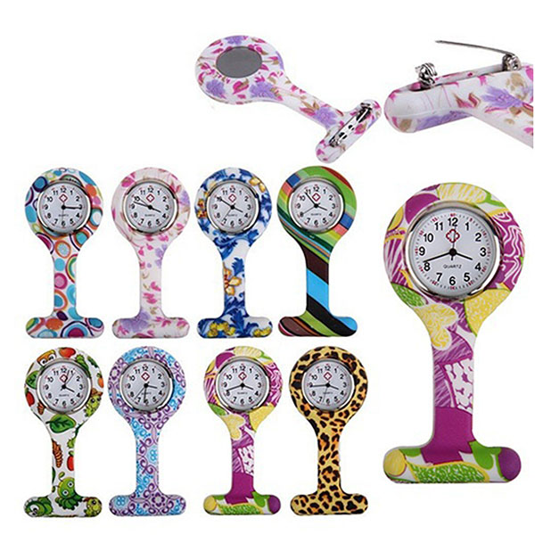 Fashion Silicone Nurses Watch Brooch Tunic Fob Pocket Stainless Dial Watches Multi-color Style LL@17