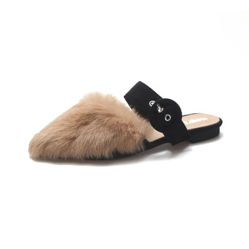 Women Winter Fur Mules Real Rabbit Fur Fur Slippers Outdoor Fur Slides Flat Heel Closed Toe Women Flats Buckle Casual Shoes cap toe flat mules