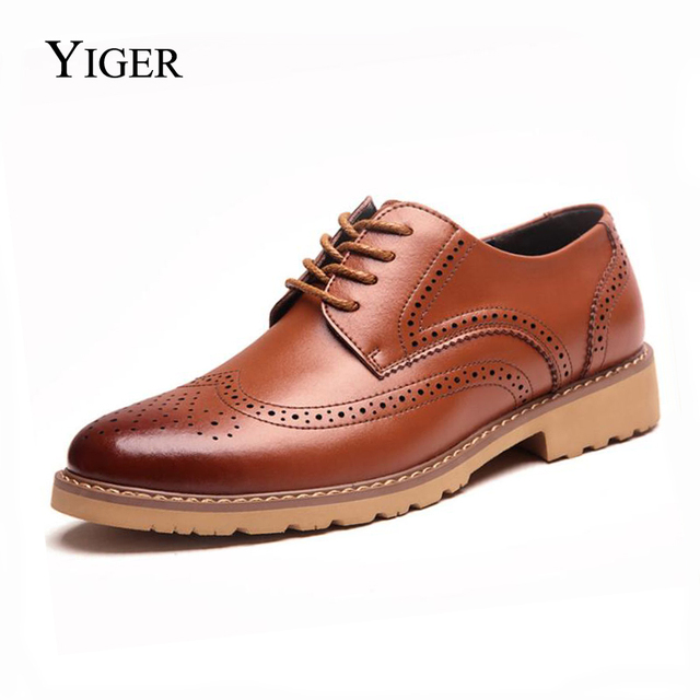$ US $25.00 YIGER NEW Men's Oxford Sole shoes Wedding Dress Genuine Leather Shoes Men's Lace-up Bullock Shoes  0046