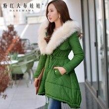 Dabuwawa женской тонкий талией меховой воротник юбка с капюшоном длинные army green зима вниз пальто женщин оптовая