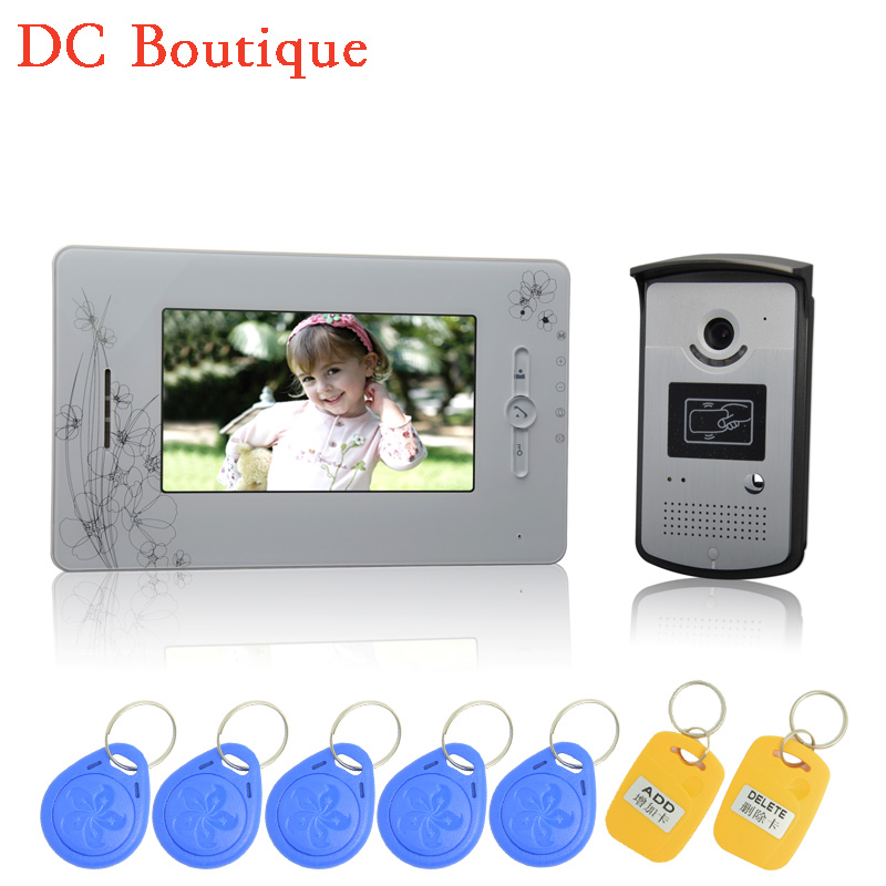 (1 set) 7 inch color screen 1 to 1 Video intercom Home use talk-back Door bell Night visible camera waterproof RFID card release exported quality screen printing frame 7 5x10 inch 19x25cm wholesale price door to door