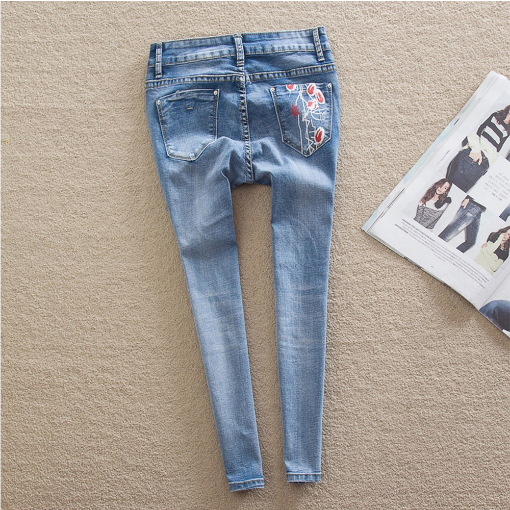 a25eef49d95 THUNDER STAR Women Flower printed Skinny Jeans femme Plus Size Female 2018  Ladies Blue Denim Pencil Pants Casual Brand Fashion -in Jeans from Women s  ...