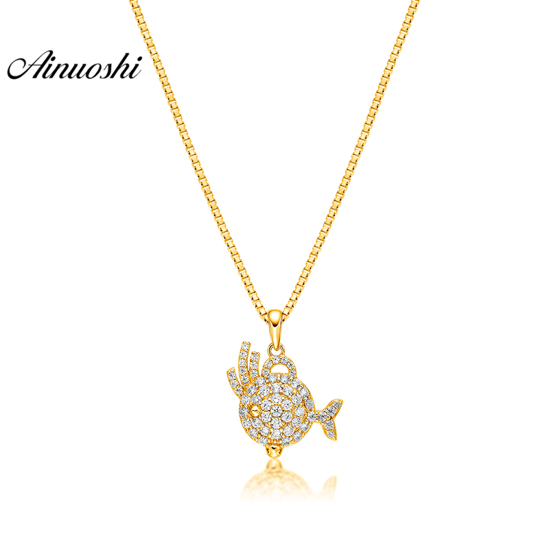 AINUOSHI 10K Solid Yellow Gold Pendant Ocean Fish Pendant SONA Diamond Women Men Children Jewelry Marine Fish Separate Pendant 65 pcs set small sea animals toy figurine mixed lot ocean creatures fish marine life solid model children gifts free shipping