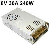 8V 30A 240W switching power supply Universal Regulated Voltage Transformer 110V 220V AC to DC8V SMPS S 240 8 for CNC