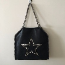 NEW LIST 35CM MID 3 Chain STAR rivets Shaggy Deer PVC  steel chain disc pandent HANDMADE shoulder handbag