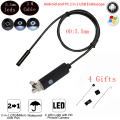 2 M 5,5mm lente HD USB del endoscopio Cámara IP68 impermeable 6 LEDs de inspección tubo boroscopio Cámara endoscopio para PC teléfono Android