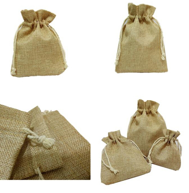 Qi Linen Clothes Gift Bag 10x15cm4x6 Pack Of 50 Birthday Party Wedding Favor Holder Makeup Jewelry Muslin Packaging Pouches