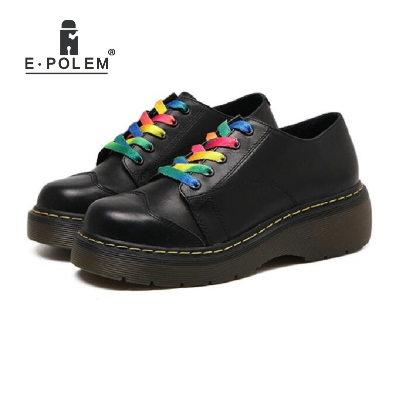 Retro Leather Martin Boots Harajuku College Loose Flat Platform Shoes England Style Low-Upper Lace-Up Oxford Shoes женская футболка other 2015 3d loose batwing harajuku tshirt t a50