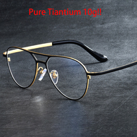 Vazrobe Titanium Eyeglasses Frame Men Aviation Glasses Spectacles for Man Prescription 151mm Wide Face 10g Ultra light Vintage